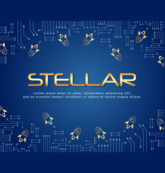 Blockchain stellar background style collection vector
