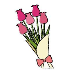 Bouquet flower natural present ornament vector