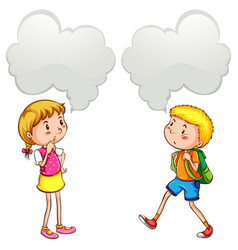 Boy and girl with speech bubbles vector