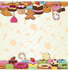 colorful hand drawn pastry background vector image