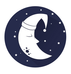 Cute moon sleeping icon vector