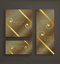 elegant premium golden banner cards invitation set vector image vector image