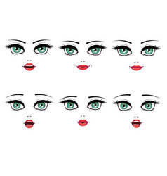 female facial expression set vector image vector image
