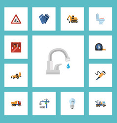 Flat icons restroom pneumatic toolkit and other vector