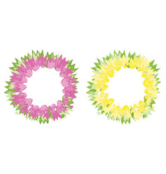 floral wreath of tulip flowers pink and yellow vector image vector image