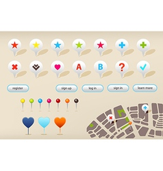 GPS Navigation Markers And Website Elements vector image