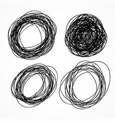 Hand drawn circle scribble set vector