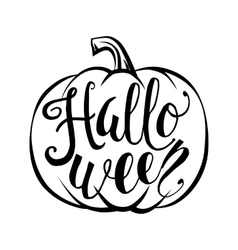 Hand drawn halloween script text with pumpkin vector image vector image