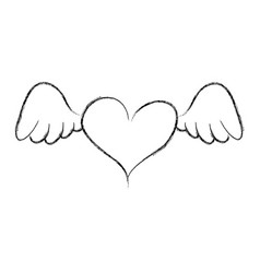 heart love with wings romantic icon vector image vector image