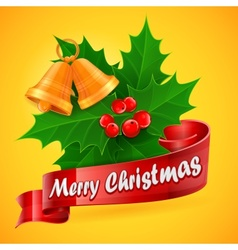 Holly berry branch on yellow vector image vector image