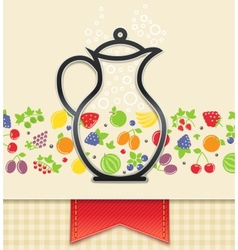 Jug with fruit and berry vector
