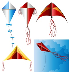 Kite set vector image vector image