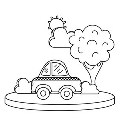 Line taxi car service in the city with tree vector