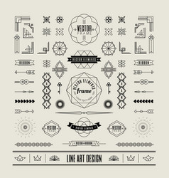 Linear thin line art deco retro vintage design vector