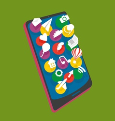 Mobile phone with different layers icon vector image