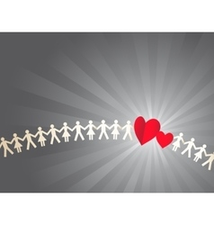 Paper crowd with hearts vector image