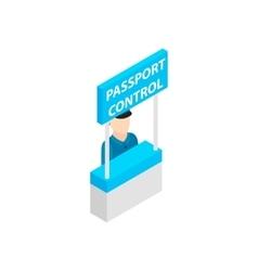 Passport control isometric 3d icon vector