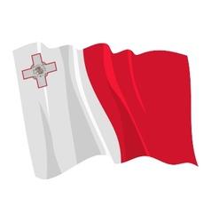 Political waving flag of malta vector
