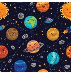 Seamless space pattern background with planets vector image vector image