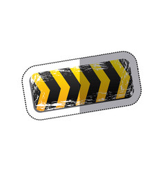 Sticker emblem striped hazard tape line vector