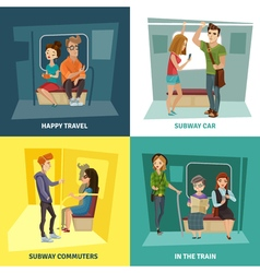 Subway people concept icons set vector