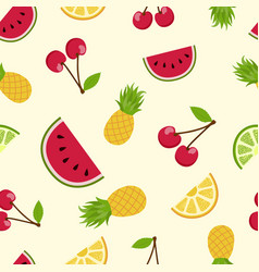 summer tropical fruit seamless pattern art vector image vector image