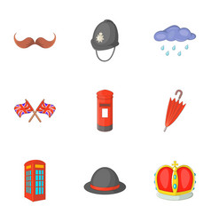 United kingdom things icons set cartoon style vector