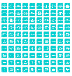 100 logistic and delivery icons set grunge blue vector image vector image