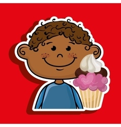 Boy cup cake dessert vector