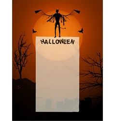 Halloween poster with devil and copy space vector