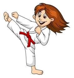 Girl cartoon doing martial art vector