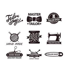 Set of logos for handmade shops tailor salon vector