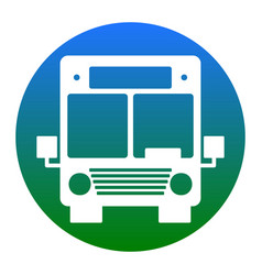 bus sign white icon in vector image