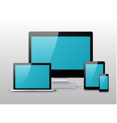 Black electronic device with blue screen vector