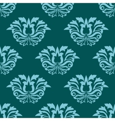 Turquoise blue damask style seamless pattern vector