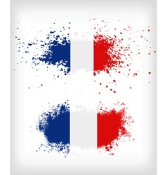 Grunge french ink splattered flag vector