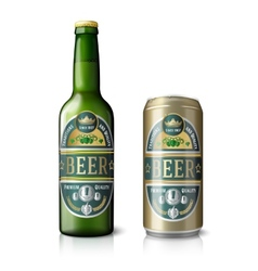 Green beer bottle and golden can with labels vector
