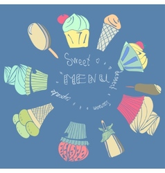 Card with ice-creams ice-lolly and cupcake vector