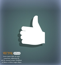 Like thumb up icon symbol on the blue-green vector