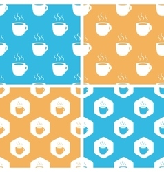 Hot drink pattern set colored vector