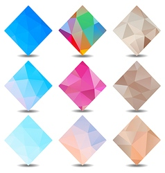 Polygon banners colors set vector