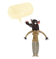 cartoon friendly werewolf woman with speech bubble vector image