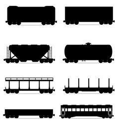 set railway carriage 03 vector image