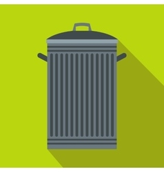 Trash can with lid icon flat style vector