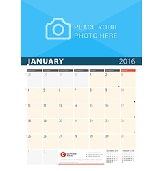 Wall calendar planner for 2016 year design print vector