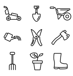 line gardening icons set vector image