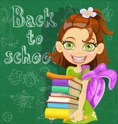 Cute girl with books at the board ready to learn vector