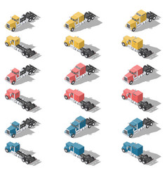 american trucks isometric low poly icon set vector image vector image