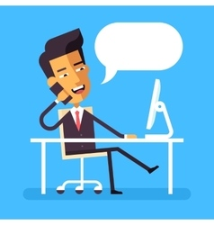 Asian businessman sitting at the desk with phone vector