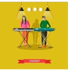 Boy and girl playing electric piano vector image